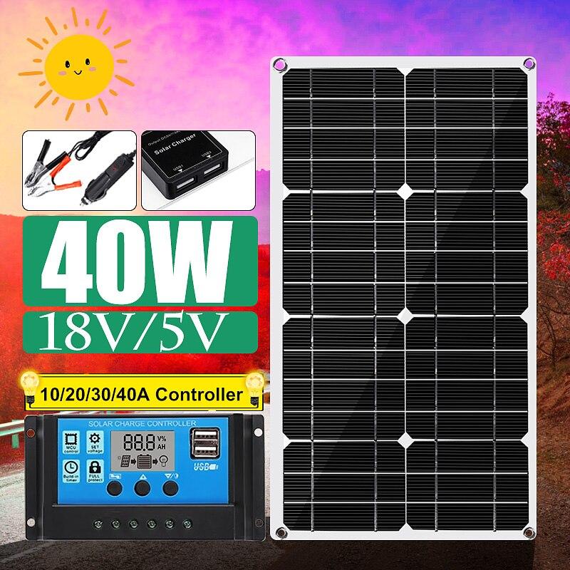 Nouveau panneau solaire USB Double 40 W avec contrôleur de régulateur de panneau solaire USB Double 10/20/30/40/50A ect pour la Charge des lumières de voiture yacht RV