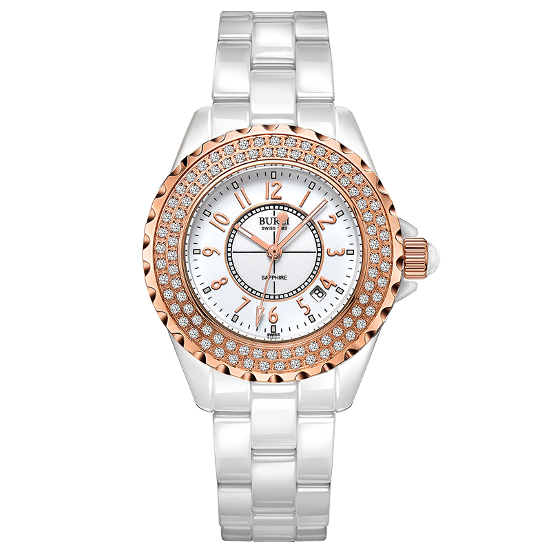 BUREI 18003 Switzerland watch women luxury brand J12 series Austria diamond Ceramic calendar number rose gold relogio feminino цена