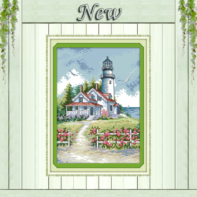 Lighthouse seaside house diy Painting 11CT Counted print on canvas DMC 14CT chinese Cross Stitch kits embroidery needlework Sets