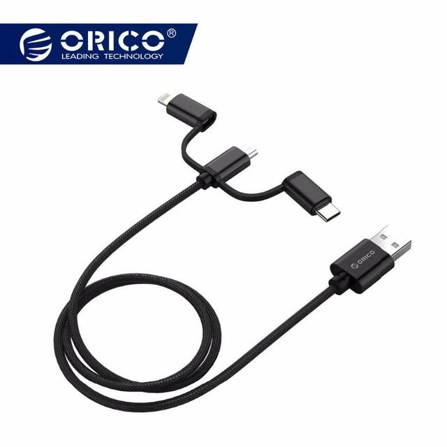 ORICO 3 в 1 Тип C Micro USB C кабель для iPhone 8X7 6 6 S плюс iOS 10 9 8 samsung Nokia USB быстрая зарядка нейлоновые Кабели шнур