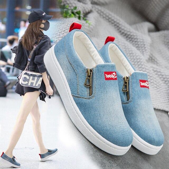 Frauen Leinwand Schuhe Slip On Flache Vulkanisierte Schuhe Frühling Casual Weibliche Denim Modische Turnschuhe Atmungsaktiv Reißverschluss Schuhe Getragen