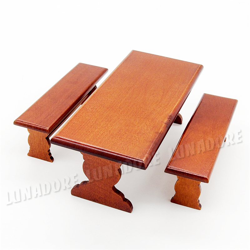 odoria 112 miniature long table and 2 bench set brown wooden dining garden dollhouse