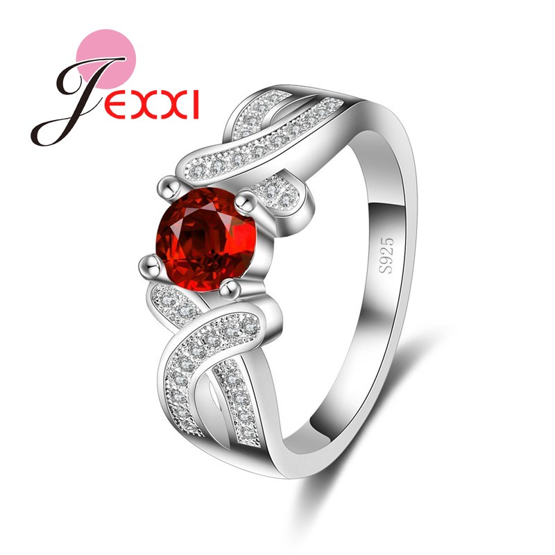 PATICO Womens Charm Jewelry Shiny CZ Crystal 925 Sterling Silver Engagement Ring With Red Stone Fashion Dancing Party Rings