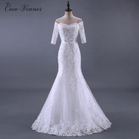 C V Real Photo Beading Lace Mermaid Wedding Dresses 2017 New Half Sleeve Sashes Appliques Fish