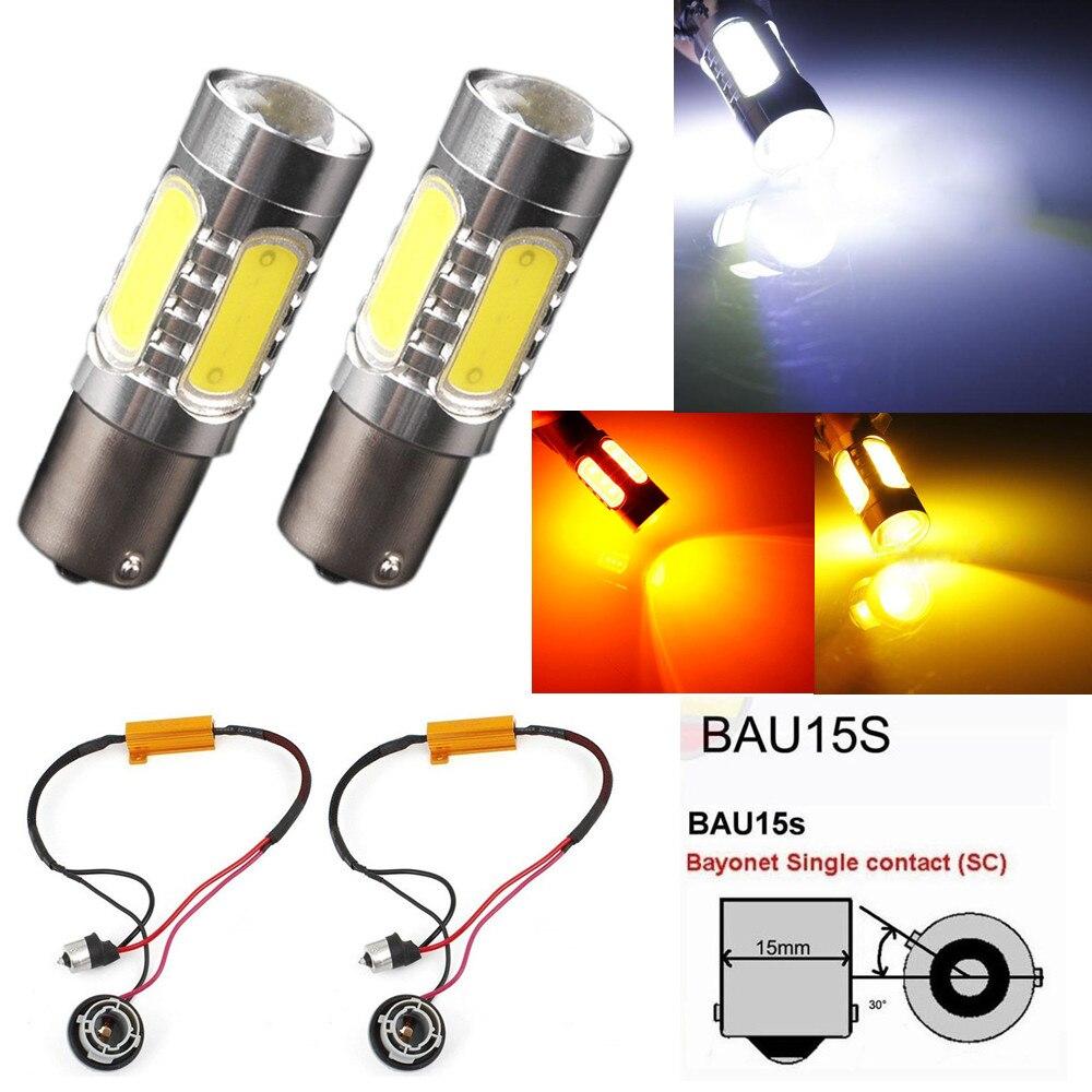 cfc7339f93 2X 1156 BAU15S PY21W 150 Degree 7.5W Yellow Amber COB LED Fog Light Bulb  Lamp For Audi BMW OBC Car Load Resistors White Red Blue