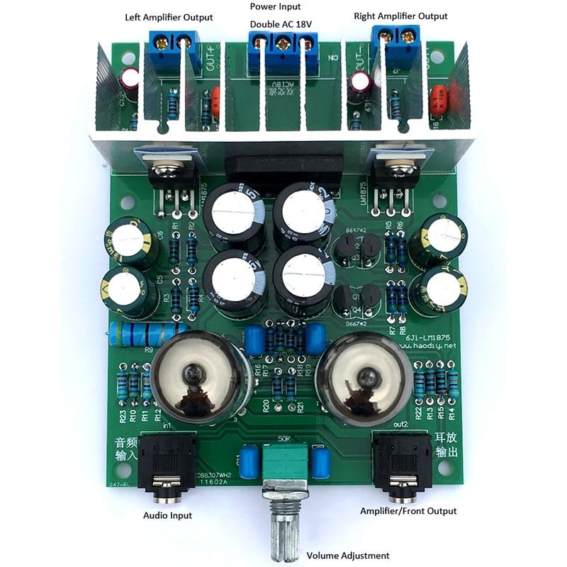 6J1 tube amplifier audio board LM1875T power amplifier Board 30W preamp  bile buffer DIY kits/finished