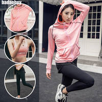 2017 New Brand Sports Yoga Set Autumn Long Sleeved Hoodie Running Fitness Leisure Suits Yoga Clothing