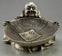 Коллекционная украсить старый Ручная Тибет серебряные резные Будды провести Совок статуя