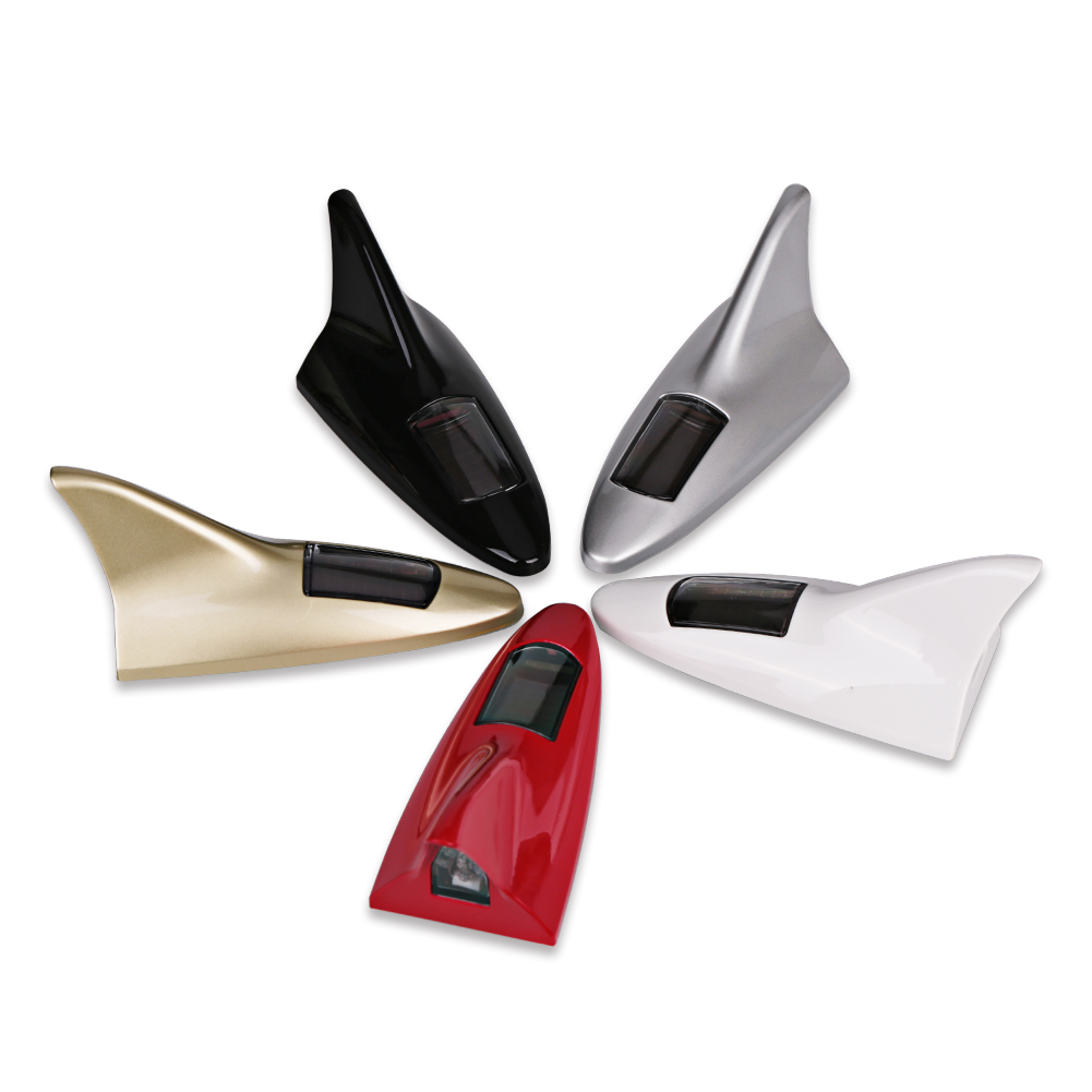 Flash 8 Led Auto Car Shark Antenna Fin Roof Antenna Car Styling Warning Tail Light Solar
