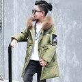 Muchachos del invierno abajo capas de la chaqueta tapa Desmontable cuello de piel artificial boy kids chaquetas de prendas de vestir exteriores 130-160 niños parka