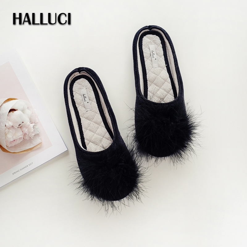 Shoes Women Non-Slip-Slippers Bedroom Velvet Classic Black Indoor Fur Feminino Sapato title=