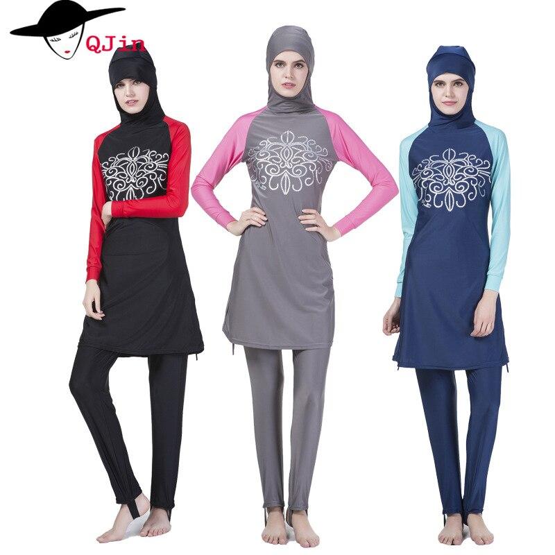 Modest Muslim Swimwear Hajib Islamic Swimsuit clothing Tankinis For Women Full Cover Conservative Burkinis Swim Wear Plus Size