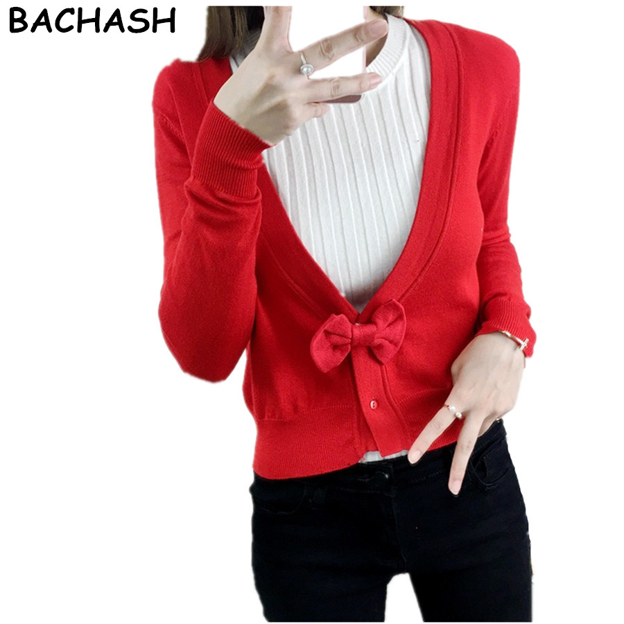BACHASH 2018 Fashion Cashmere Sweater Women Cardigan Bow Female O-Neck Knitted Coat Slim ...