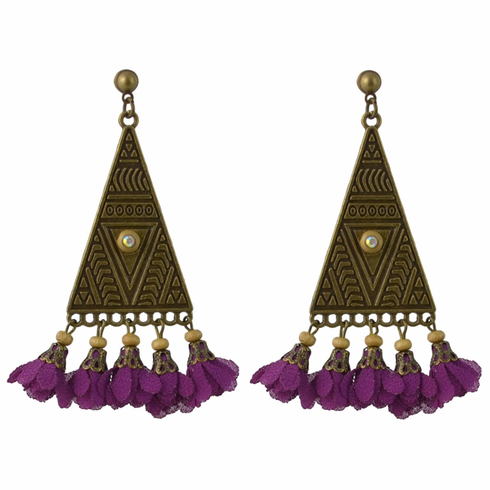 Women Vintage Boho Floral Gypsy Earrings Tribal Ethnic Festival Gift Indian Hoop