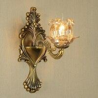 Gold Bronze kristall wand lampe Europäischen wohnzimmer hintergrund lampe schlafzimmer nacht lampe Restaurant korridor gang treppen licht