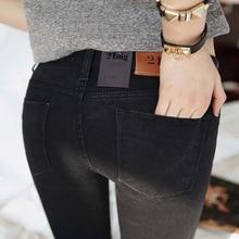 Весной 2016 Черный Стрейч Джинсы новые женские Корейский стрейч тонкий тонкий джинсы брюки ноги
