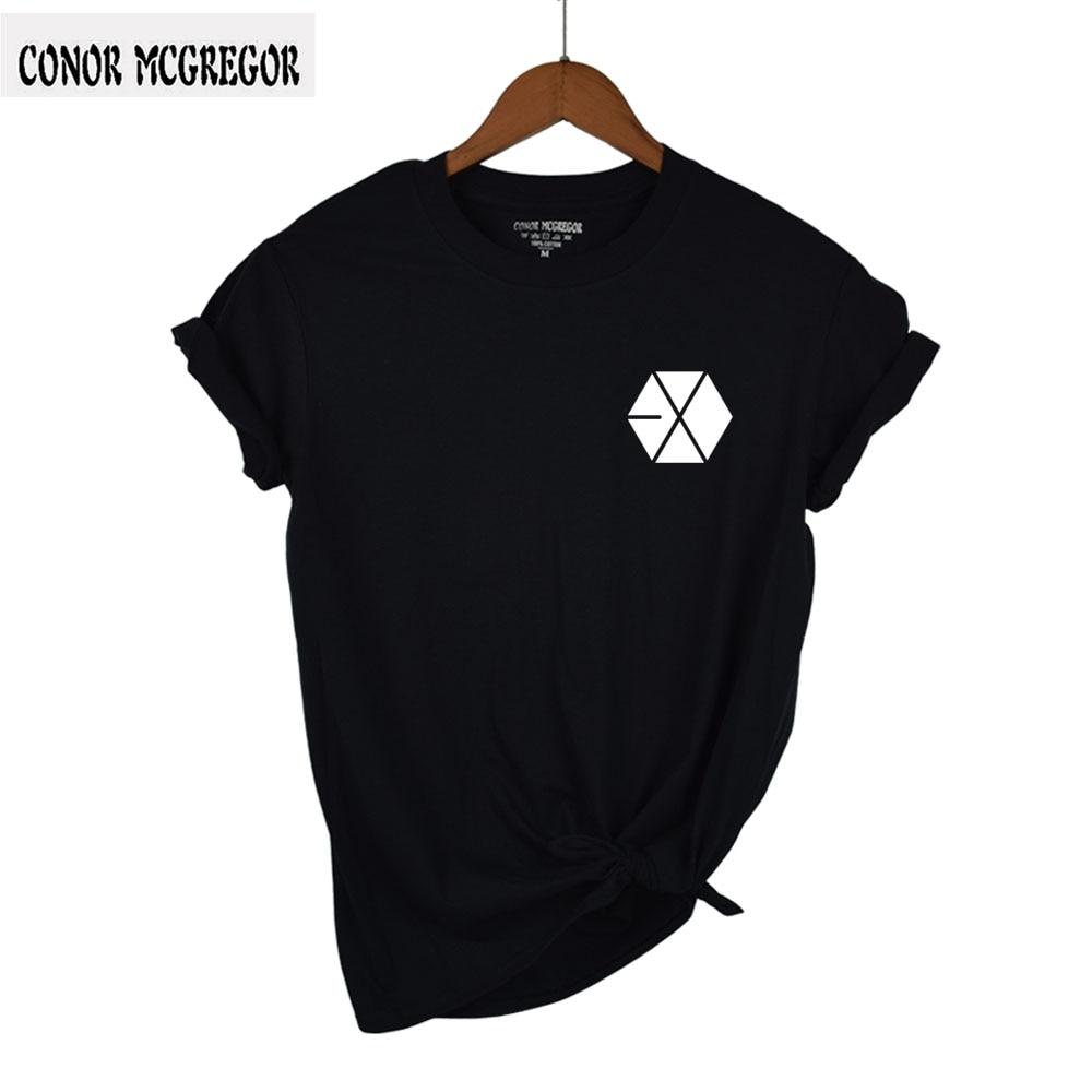 Harajuku EXO Letter Summer T shirt Women Casual Lady BTS Short Tshirt for Female Clothing t-shirts women Tops tumblr black/white ...