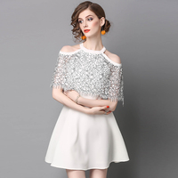 Sarafan Casual Pure Color Lace Hanging Neck Dress Zanzea Beach Lace Dress Sexy Party Dresses Clothes