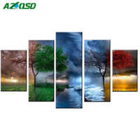 AZQSD Diamond Painting Cross Stitch Landscape Full Square Drill 5D Diamond Embroidery Seasons Trees Home Decoration 5pcs/set