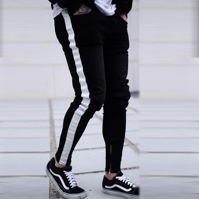 Skinny Jeans Men Hip Hop Stripe Elastic Slim Fit Denim Pants Male Stretchy Pencil Bottoms street Knee Ripped Holes Jeans 2