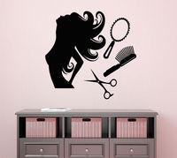 壁用シールはさみくし女の子ルームビニールステッカー髪美容サロンの装飾