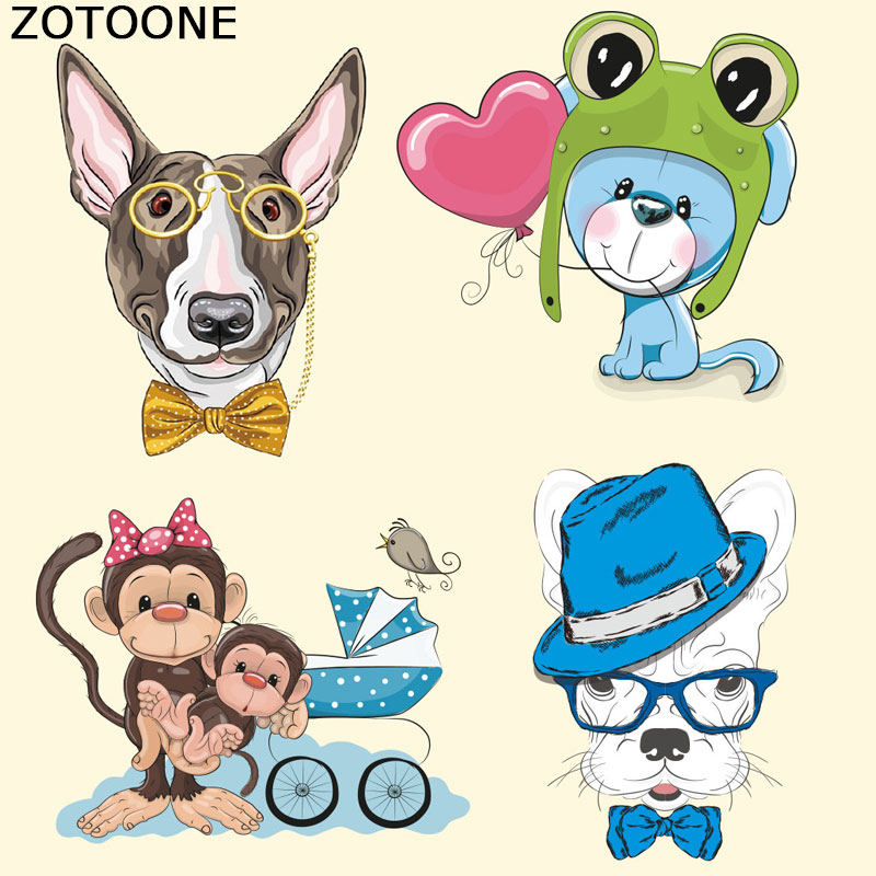 ZOTOONE Patches Lovely Animal Ironing on for Clothes Heat Transfer Appliques Christmas Gift Friends Washable Kid