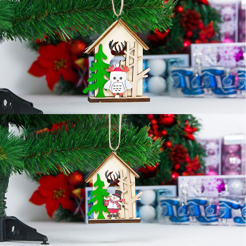 Wooden House Hanging Decoration Ornament Pendant For Christmas Tree Party Home P7Ding image