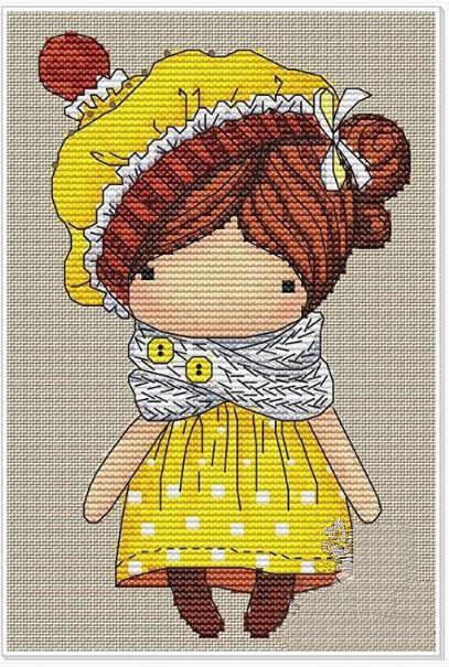 を魔法少女クロスステッチパッケージ漫画の人形ベビー 18ct 14ct 11ct 布木綿糸の刺繍 diy ハンドメイド刺繍