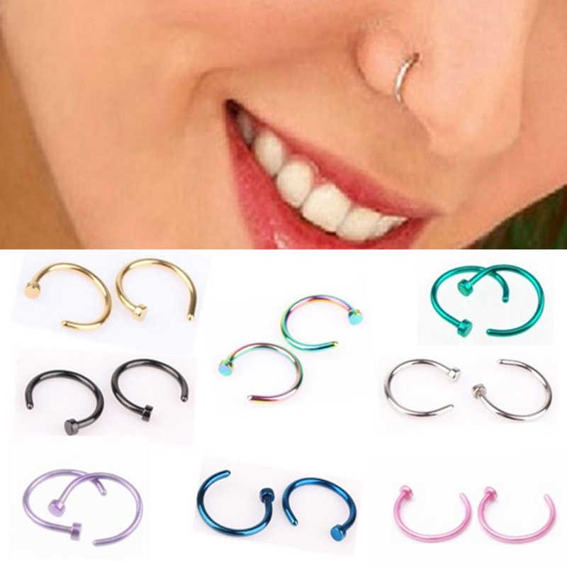 New 10pcs Medical Titanium Silver Hoop Nose Rings Clip on Ear Lip Navel Body Piercing Fake Percing Jewelry Women Pircings 2019
