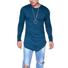2017 Autumn Long Style Hip Hop T shirt Full Sleeves Slim Fit t Shirts Men Round Neck Asymmetry streetwear t-shirt Tops Size 5XL