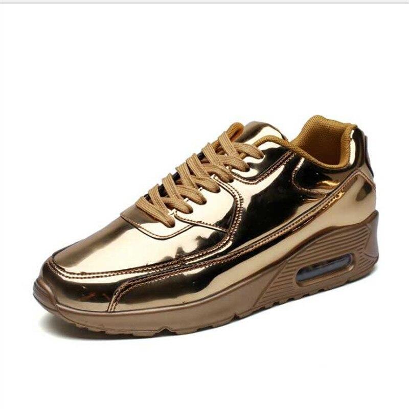 Printemps automne tendance coréenne chaussures décontractées en cuir verni brillant visage coussin marée chaussure miroir chaussures de loisir à la mode baskets