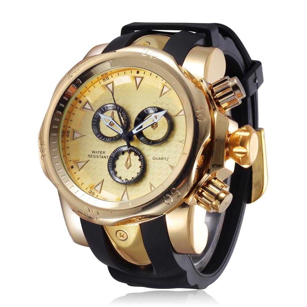 Reloj de esfera grande de marca famosa para hombre relojes de cuarzo de gran cara banda de goma 52mm reloj de pulsera de hombre de oro rosa de lujo para hombre nuevo