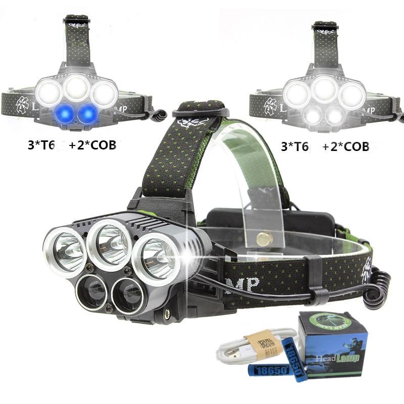 Brightfire 5 XM-L T6 Q5 Farol 15000 lumens LED Farol LED Farol Acampamento Caminhada de Pesca Luz de Emergência Ao Ar Livre