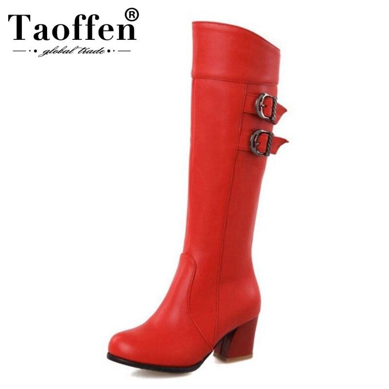 7af936f6a النساء مربع كعب على الركبة التمهيد الشتاء الثلوج الدافئة أحذية طويلة ركوب  مشبك بوتاس موهير جودة الأحذية الأحذية حجم 28 -52