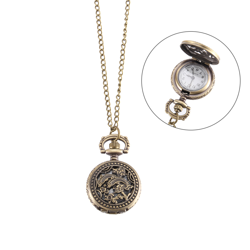 Vintage Pocket Watch Bronze Color Quartz Watch Cool Chain Hollow Dolphin Cover Watches LL@17