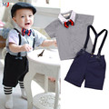 2016 New 3 Pieces Summer Boys Clothing Sets Gentleman Baby Clothes Shirt And Suspender Trousers Gen