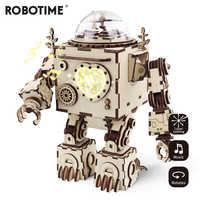 Robotime creativo DIY 3D Robot Steampunk juego de rompecabezas de madera ensamblado caja de música regalo de juguete para niños adolescentes adultos AM601
