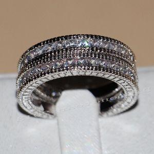 Image 3 - Victoria Wieck anneaux de mariage pour femmes, bijoux Vintage, 14kt, en or blanc, rempli de AAA CZ, 3 pièces pour amour, Size5 11