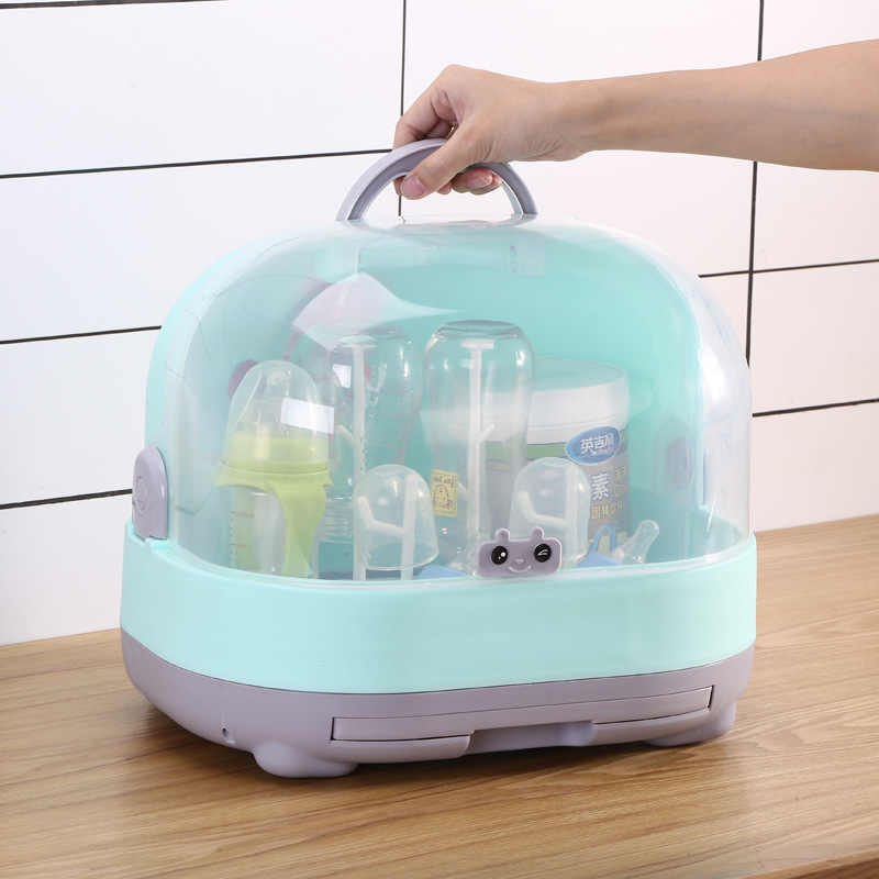 Portable Baby Bottle Rack Storage Box Organizer Dust Proof Drying Shelf Box Baby Milk Feeding Bottle Dryer Box Baby Accessory