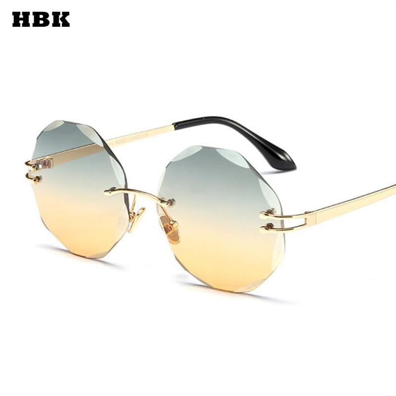 fcf342cad HBK Samll Óculos Sem Aro Redondo oculos Feminino Retro Vintage Marca  Designer Óculos De Sol Das