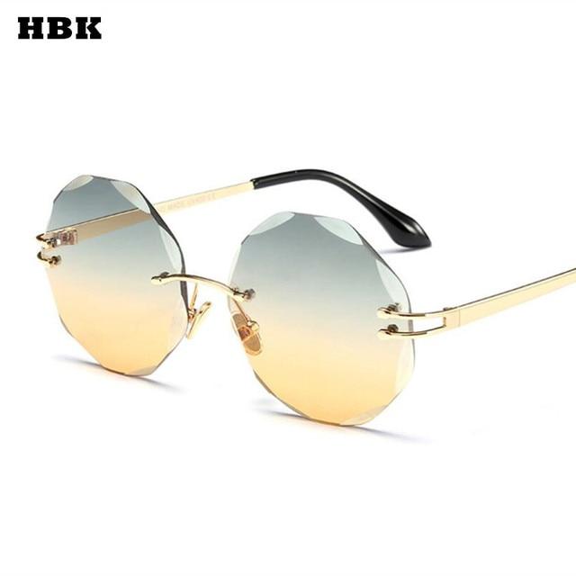 1a3bee0abacd9 HBK Samll Óculos Sem Aro Redondo oculos Feminino Retro Vintage Marca  Designer Óculos De Sol Das