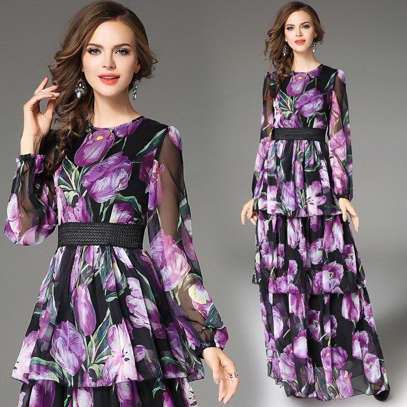 À Robe Robes Gamme Violet Mignon Ligne Gros Longues Manches De En Imprimé Mode Haut Tenues Mince wXqzH7WzxS