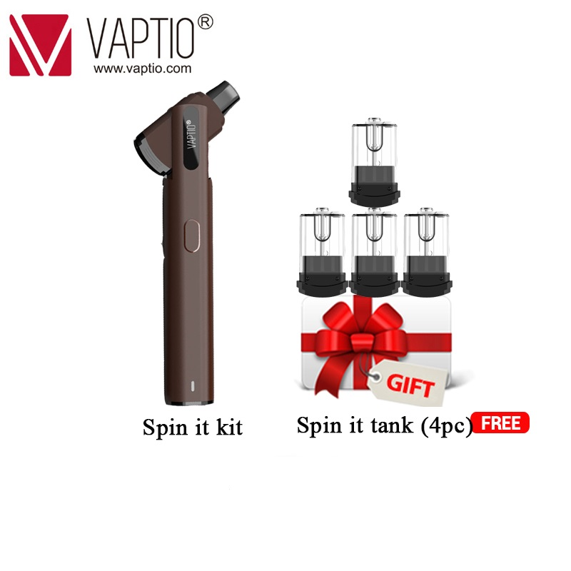 Spinnable drip tip Original Vaptio Spin IT vape Kit with 500mAh built in battery 15W 1.8ml tank starter Electronic cigarette kit