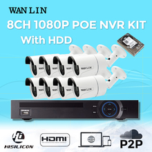 WANLIN 8CH POE NVR Kit SONY IMX323 Full HD 2MP IP Camera CCTV P2P Waterproof Outdoor 1920x1080P IP Camera Security System Kit