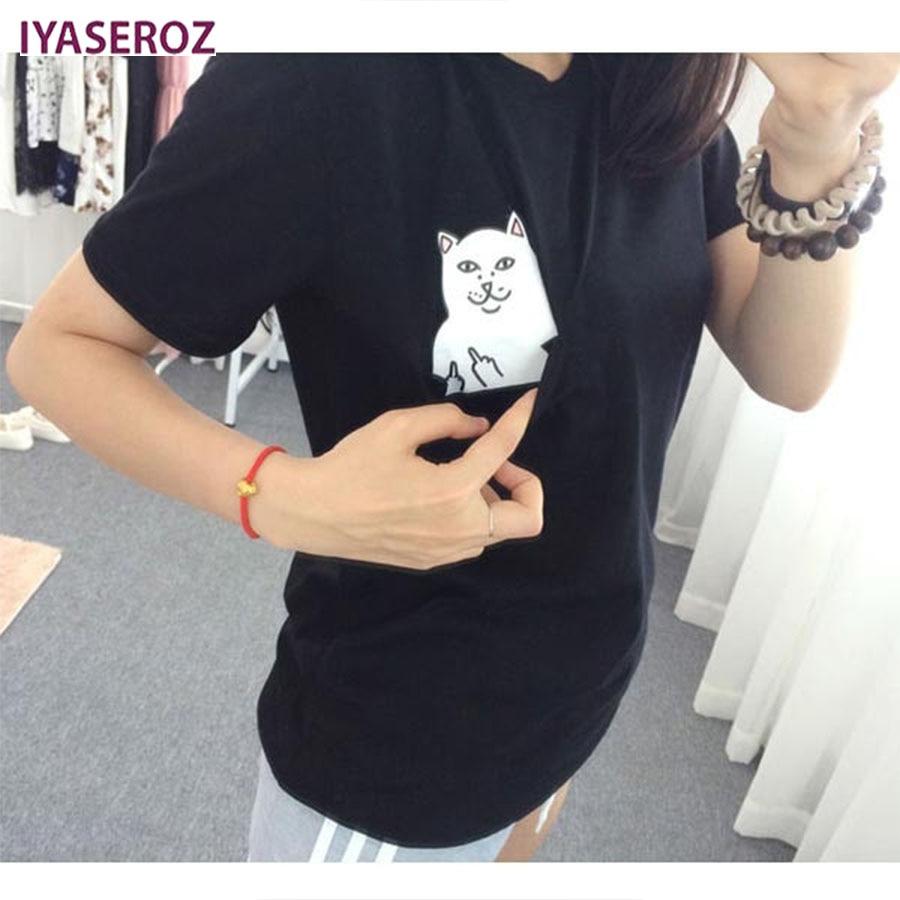 Női póló 2017 nyári stílusú póló nyomtatás fekete zseb - Női ruházat