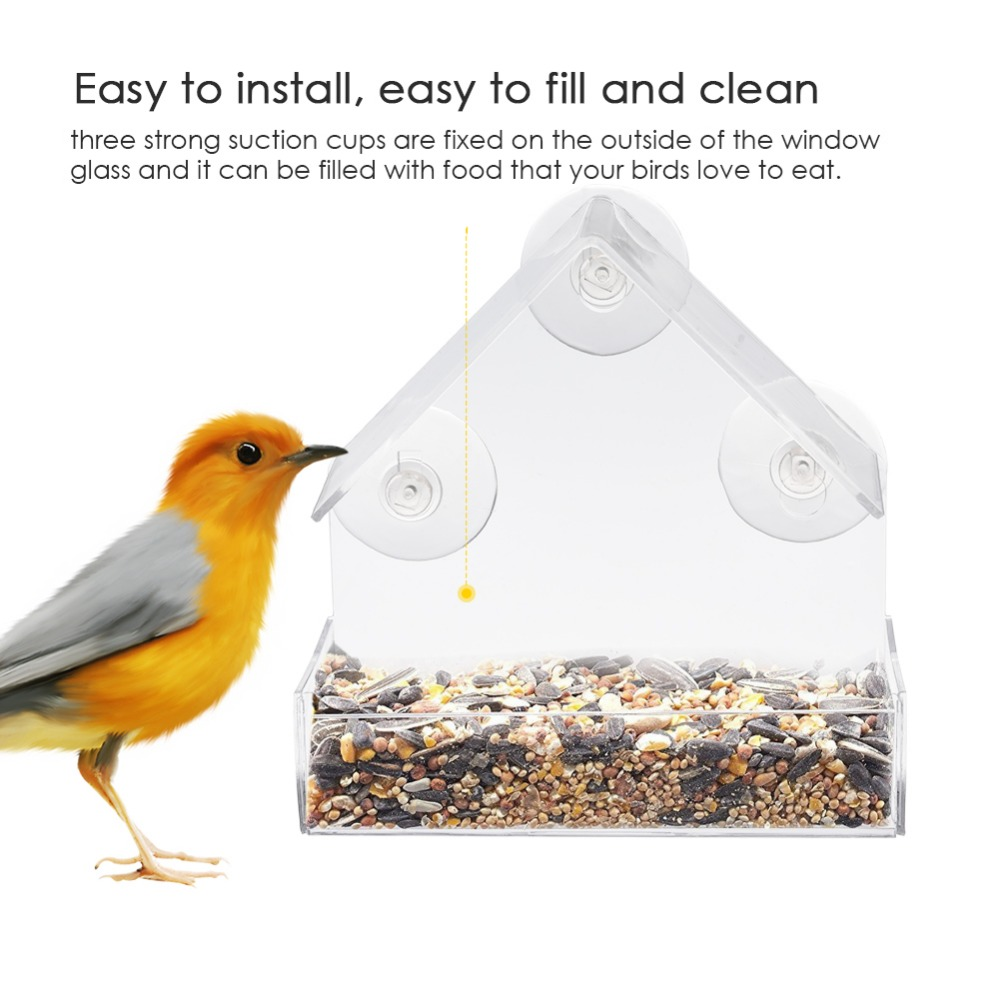 Transparent Window Outdoor Bird Feeder Parrot Lovebird Canary Aviary For Birds Feeding Container For Food Pigeon Pet Supplies