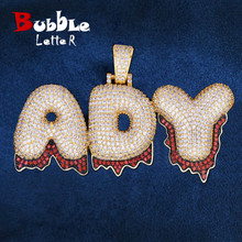 Custom Name Red Color Drip Bubble Letters Pendants Necklaces Mens Zircon Hip Hop Jewelry With 4MM Tennis Chain For Gift