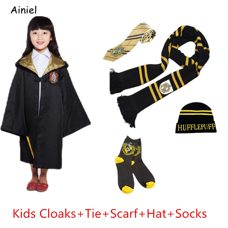 Hogwarts School Hermione Tie Hat Scarf Socks Gloves Cap Cloak Gryffindor  Hufflepuff Ravenclaw Cosplay Costumes Kids Women Men