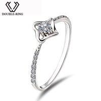 алмазная Двойной Кольцо из натуральной Ювелирные украшения бижутерия 18 К Gold Star кольцо с бриллиантом Для женщин Дамы Романтические свадебны