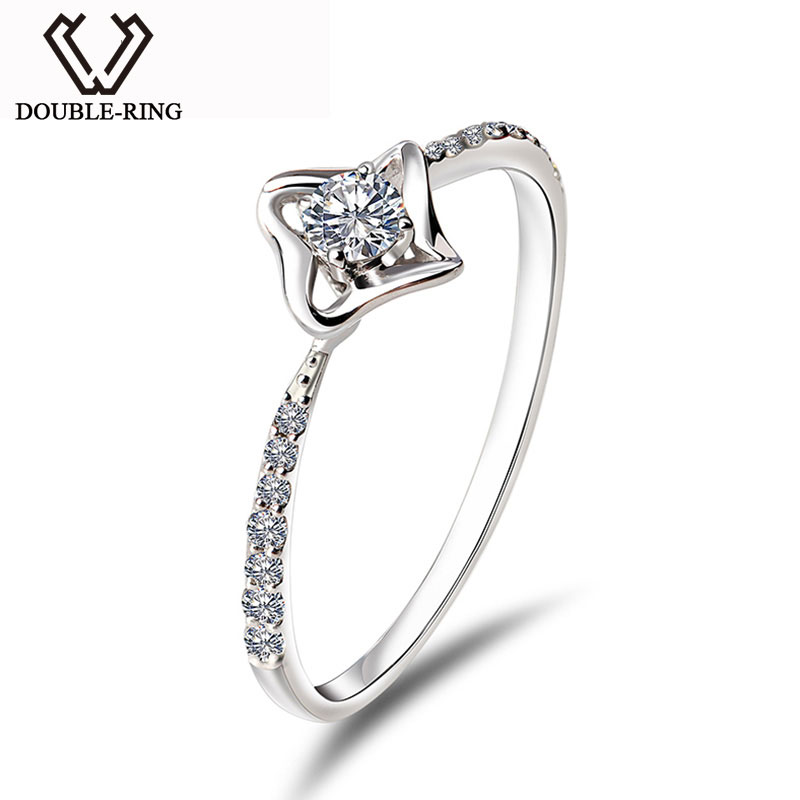 DOUBLE-RING 0.103ct Genuine Diamond Solid Pure Real 18k Gold Engagement Ring 18k Gold Wedding Ring For Women hot sale couples wedding bands lock and key love solid 18k white gold diamond engagement ring wu141